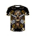 Cool Unique Gun Skull 3D Printed Basic Round Neck Short Sleeve Black T-Shirt