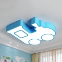 Metal Train LED Flush Ceiling Light Kids Warm/White Lighting Ceiling Lamp in Blue/Green/Red/Yellow for Kindergarten