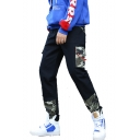 Men's Fashion Camouflage Printed Drawstring Waist Black Cotton Casual Cargo Pants