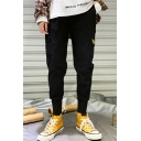 New Stylish Letter Patchwork Flap Pocket Side Elastic Cuffs Men's Casual Hip Pop Cotton Cargo Pants