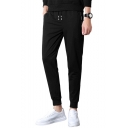 Casual Fashion Simple Plain Zipped Pocket Drawstring Waist Sports Joggers Sweatpants for Men