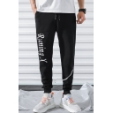Men's Fashion Letter RUNNING X Printed Drawstring Waist Black Casual Sweatpants