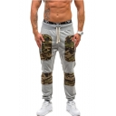 Cool Fashion Camouflage Patched Drawstring Waist Casual Sport Cotton Sweatpants