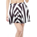 Trendy Black and White Striped Printed Mini A-Line Pleated Skater Skirt