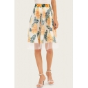 Summer Stylish Floral Printed High Rise Tulle Panel Midi A-Line Skirt