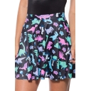 Fashion Black Comic Dinosaur Printed High Rise Mini A-Line Pleated Skater Skirt
