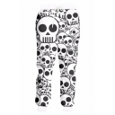 Trendy 3D Skull Printed Drawstring Waist Black and White Polyester Sport Casual Joggers Sweatpants