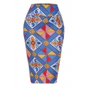 Vintage Ethnic Style Blue Geometric Printed Midi Fitted Pencil Skirt for Women