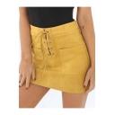 Womens Hot Popular Simple Plain Tied Waist Split Front Ruffled Midi Beach Skirt
