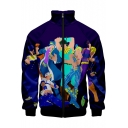 Purple Comic Character 3D Pattern Stand Collar Long Sleeve Zip Up Jacket