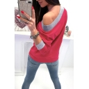 Stylish Oblique Shoulder Long Sleeve Plain Casual Pullover Sweatshirt