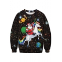 Hot Popular Christmas Santa Claus Unicorn Galaxy Printed Loose Casual Pullover Sweatshirt