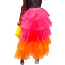 Womens New Trendy Stylish Two-Tone High Rise Maxi Layered Tulle Skirt