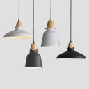 Metal Barn/Bucket Hanging Pendant Nordic Wood Finish 1-Light Suspension in Black/White