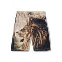 Men's Trendy 3D Lion Printed Drawstring Waist Quick-drying Breathable Khaki Casual Athletic Shorts
