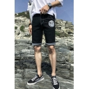 Stylish Letter BEST Printed Rolled Cuffs Zip-fly Men's Denim Shorts