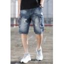 Summer Fashion Vintage Washed Ripped Detail Double Pocket Side Men's Trendy Blue Denim Shorts