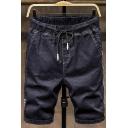 Summer Trendy Welt Back Pockets Drawstring Waist Letter Printed Side Casual Denim Shorts for Men