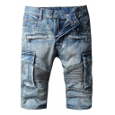 Men's Vintage Style Fashion Pleated Crumple Zipper Embellishment Flap Pocket Side Light Blue Jeans Denim Shorts