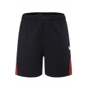 Men's Summer Fashion Contrast Patched Logo Printed Elastic Waist Relaxed Sweat Shorts