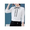 Trendy Bow-Tied Stand Collar Long Sleeve Ruffled Hem Button Down Shirt Blouse