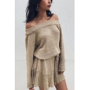 Womens Autumn Sexy Off the Shoulder Long Sleeve Tied Waist Plain Mini Knit Dress