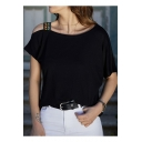 Fashion Tribal Print Strap Cold Shoulder Batwing Sleeve Loose Leisure Tee