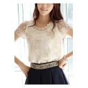Beige Chic Pearl Embellished Round Neck Short Sleeve Crochet Chiffon T-Shirt