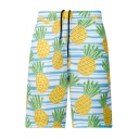 Summer Stylish Pineapple Stripe Print Quick Drying Casual Drawstring Waist Beach Shorts Swim Trunks with Pocket