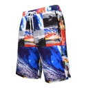 Men's New Fashion 3D Print Drawstring Waist Swim Trunks with Pockets and Mesh Liner