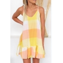 Summer Stylish Yellow Color Block V-Neck Mini Ruffled Slip Dress