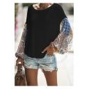 Womens Hot Fashion Round Neck Tribal Print Batwing Long Sleeve Casual Knit T-Shirt