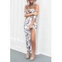 Hot Fashion Chic Light Pink Floral Printed Halter Neck Cutout Front Split Side Maxi Beach Dress