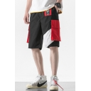 Men's Summer New Stylish Colorblocked Flap Pocket Side Black Cotton Casual Loose Cargo Shorts