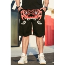 Men's Summer Fashion Cool Monster Printed Black Casual Cotton Relaxed Sweat Shorts