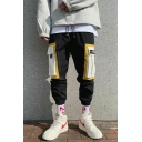 Men's New Stylish Letter Printed Colorblocked Multi-pocket Design Elastic Cuffs Casual Cotton Cargo Pants