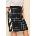 Women's Trendy Black and White Plaid Printed Stripe Side Mini Tube Fitted Skirt