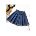 Girls Summer Elastic High Waist Fringe Hem Mini A-Line Denim Skirt