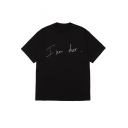 Funny Simple Letter I AM HER Print Short Sleeve Cotton Tee