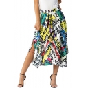 New Stylish Newspaper letters Colorful Print Tie-Front Maxi Asymmetric Skirt