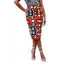 New Stylish Womens Sexy Style Geometric Print Midi Red Bodycon Skirt