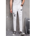 Men's Trendy Letter Printed Ripped Detail White Slim Fit Casual Jeans