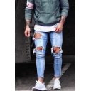 Men's Hot Fashion Simple Plain Light Blue Skinny Ripped Jeans with Holes