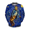 Funny Blue Galaxy Figure Van Gogh 3D Print Stand Collar Button Front Baseball Jacket