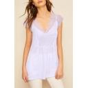 Womens Light Purple Chic Lace-Panel V-Neck Sleeveless Plain Chiffon Top