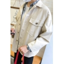 Guys Vintage Simple Plain Long Sleeve Flap Pocket Front Button Down Casual Shirt Workwear Jacket