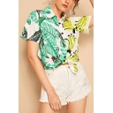 Summer Trendy Banana Leaf Printed Short Sleeve Holiday Button Shirt for Women