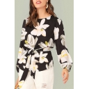 Womens Fancy Black Floral Pattern Round Neck Long Sleeve Tied Waist Blouse