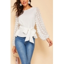 Womens Trendy Simple Plain Round Neck Puff Long Sleeve White Tied Blouse