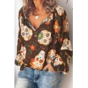 Summer Holiday Womens Fashion Floral Pattern V-Neck Long Sleeve Casual Loose Blouse Top
